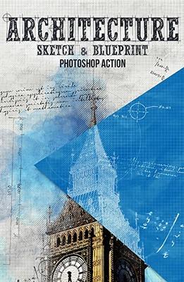 Effet Photoshop Sketch d'Architecture et Blueprint